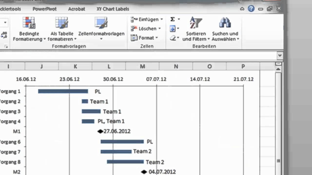 Excel - Gantt-Diagramm mit Meilensteinen und Ressourcen - YouTube
