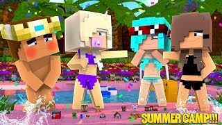 Minecraft BABY KAYLA TEACHES HER BABY BROTHER HOW TO SWIM!!! Summer Camp