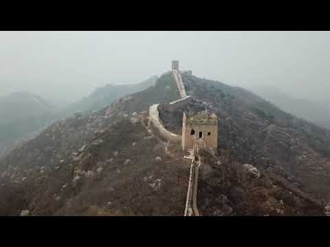 Flying the Drone around the Great Wall of China near Jinshan Ridge