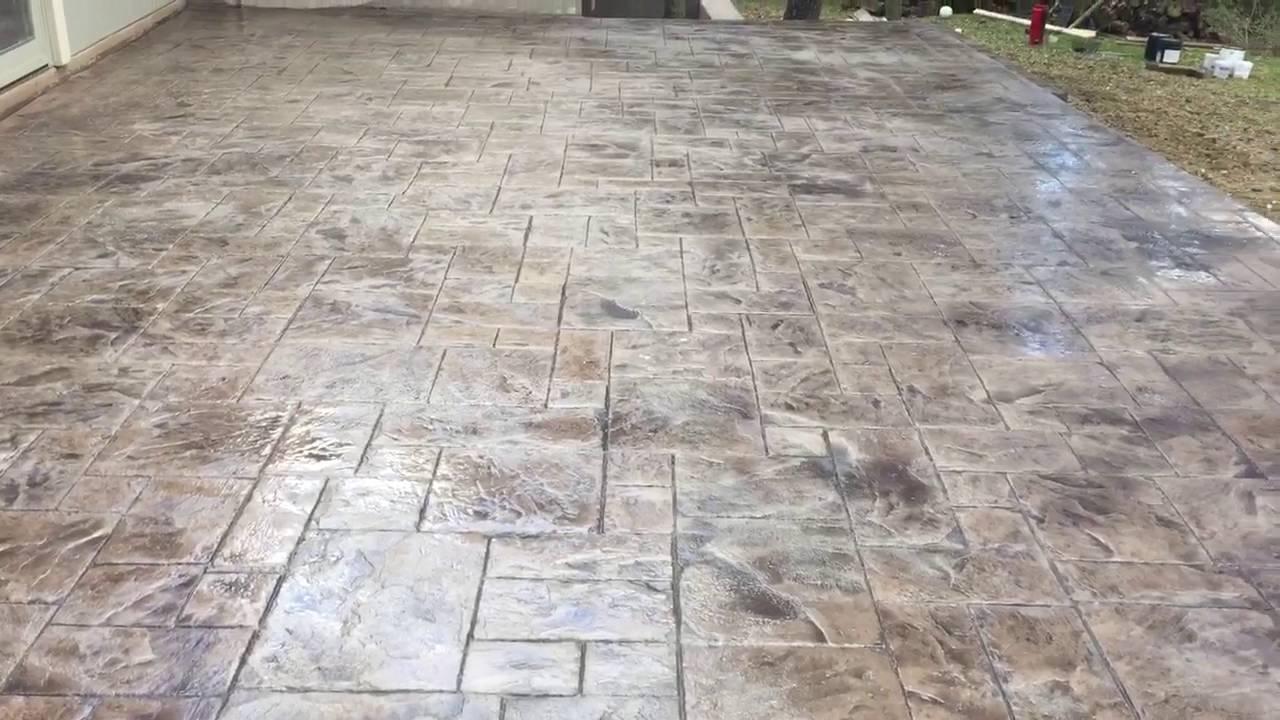 Roman Ashlar Slate Stamped Concrete Patio Pristine