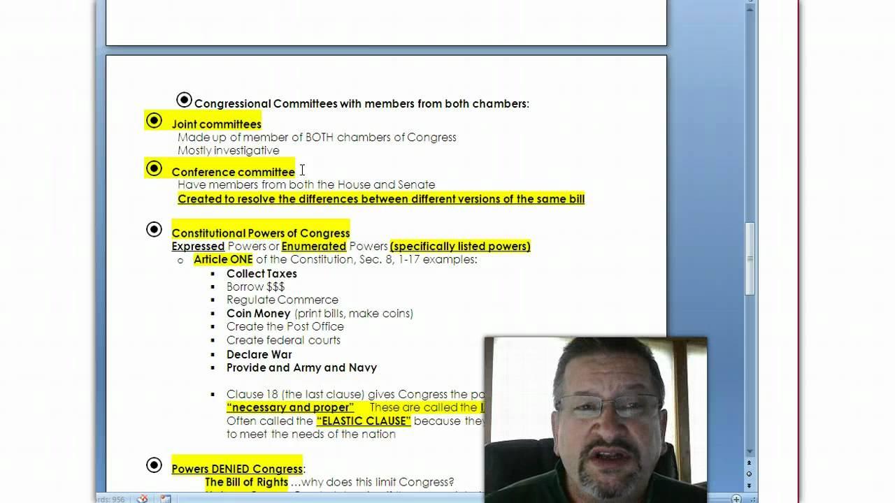 Denns Unit 3 Legislative Branch Exam Review Youtube