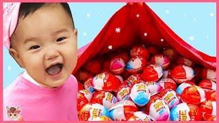 하늘에서 킨더조이 장난감 비가 와요! 조니조니 예스파파 주방놀이 자동차 놀이 pretend play surprise eggs, video for kids with toys