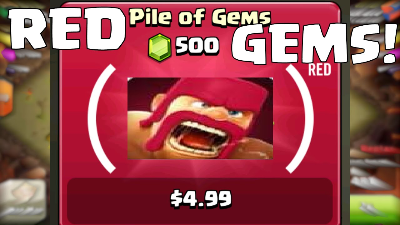 Clash Of Clans Red Gems Update Buying New Red Gems Product Red