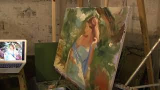 Игорь Сахаров, летний портрет маслом, масляная живопись