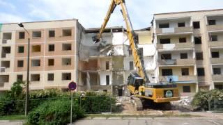 Abriss Plattenbauten in Leipzig Grünau Marsweg