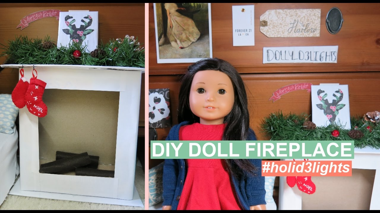 DIY DOLL FIREPLACE | #HOLID3LIGHTS | DIY American Girl Doll Crafts ...