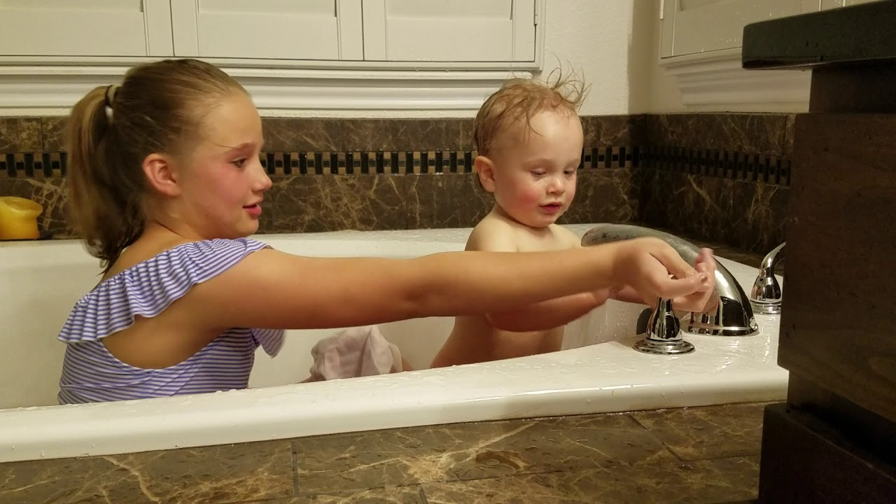 Our New Little Sister First Bath! - YouTube