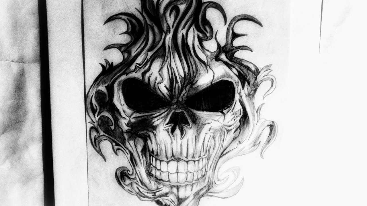 How To Draw A Flaming Skull Tattoo Design