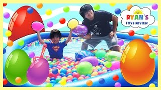 HUGE EGGS HUNT SURPRISE TOYS CHALLENGE Gaint Ball Pit Huge pool Chocolate Egg Disney Cars Toys Train