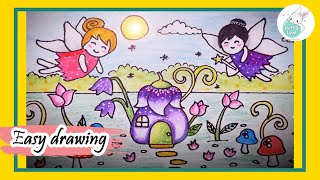 How to draw Cute little fairies fantasy scene drawing for kids