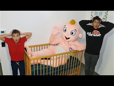 adel and sami  pretend play with  big baby doll , videos for kids ,les boys tv