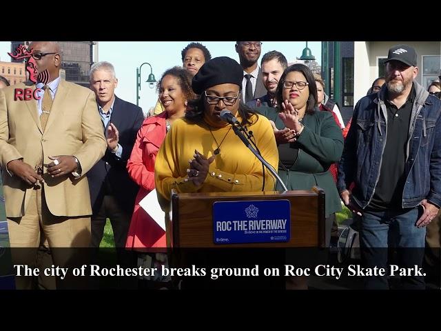 Mayor Lovely Warren breaks ground on Roc City Skatepark.