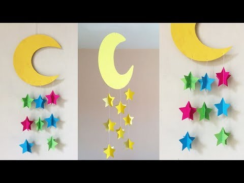 DIY Paper Craft Wall hanging !! Paper craft ideas !! Paper craft Wind Crime !! Moon And Star Crafts
