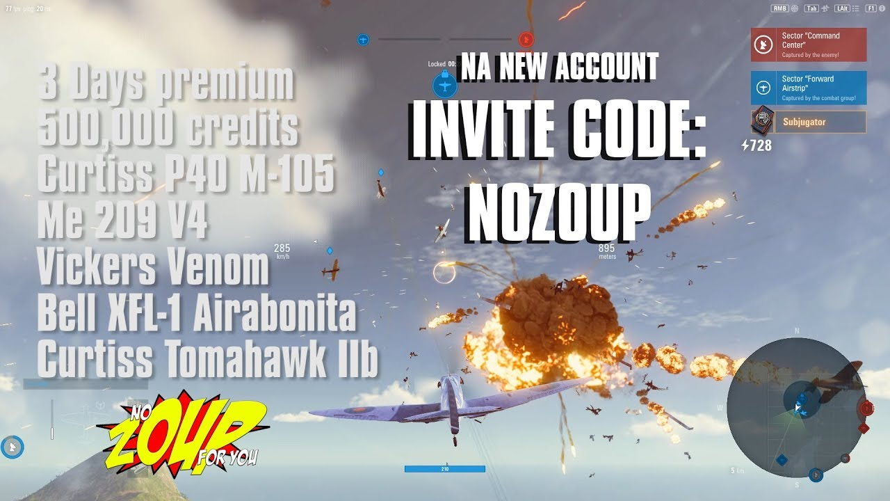 World of Warplanes New Account Invite Code - 5 Premium Planes