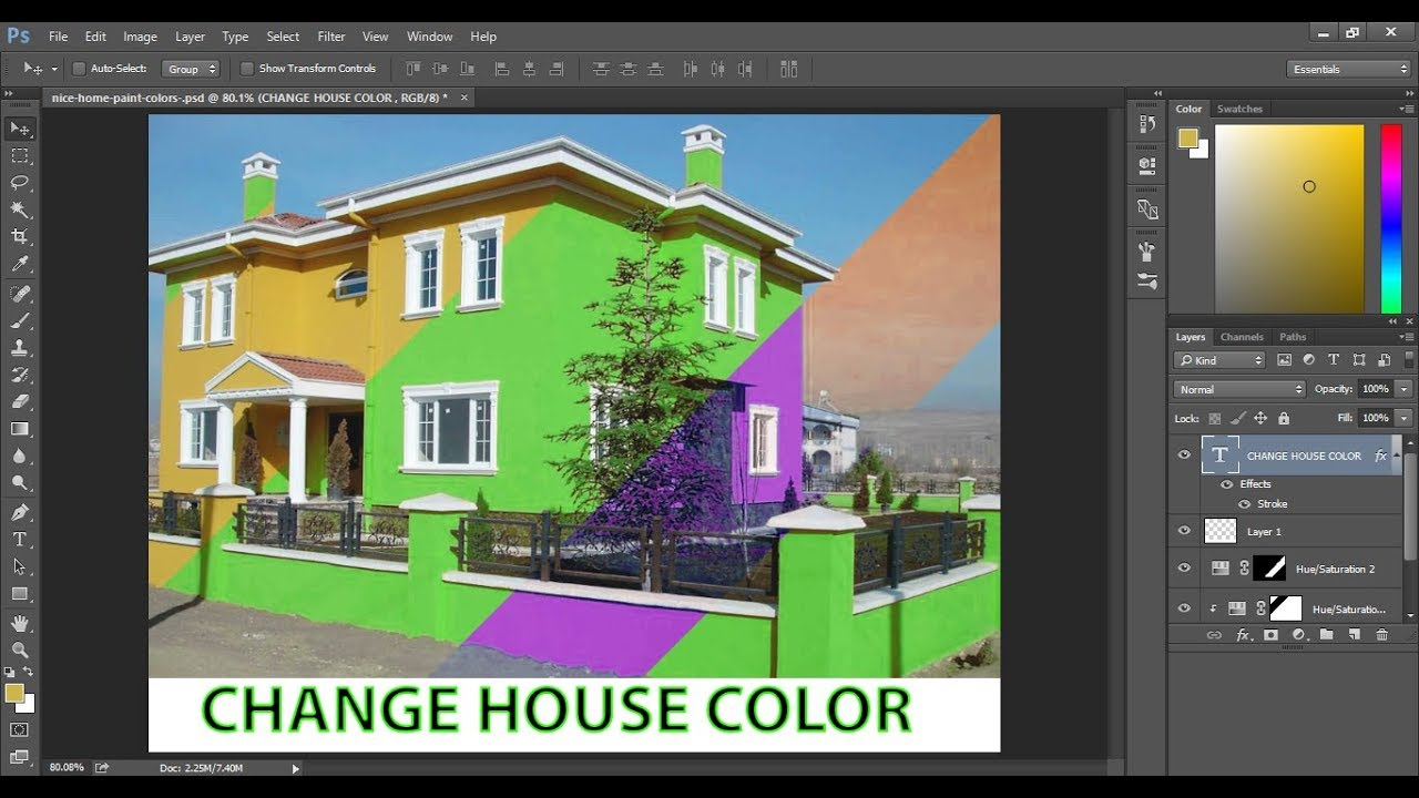 change the color of your house in adobe photoshop cc to