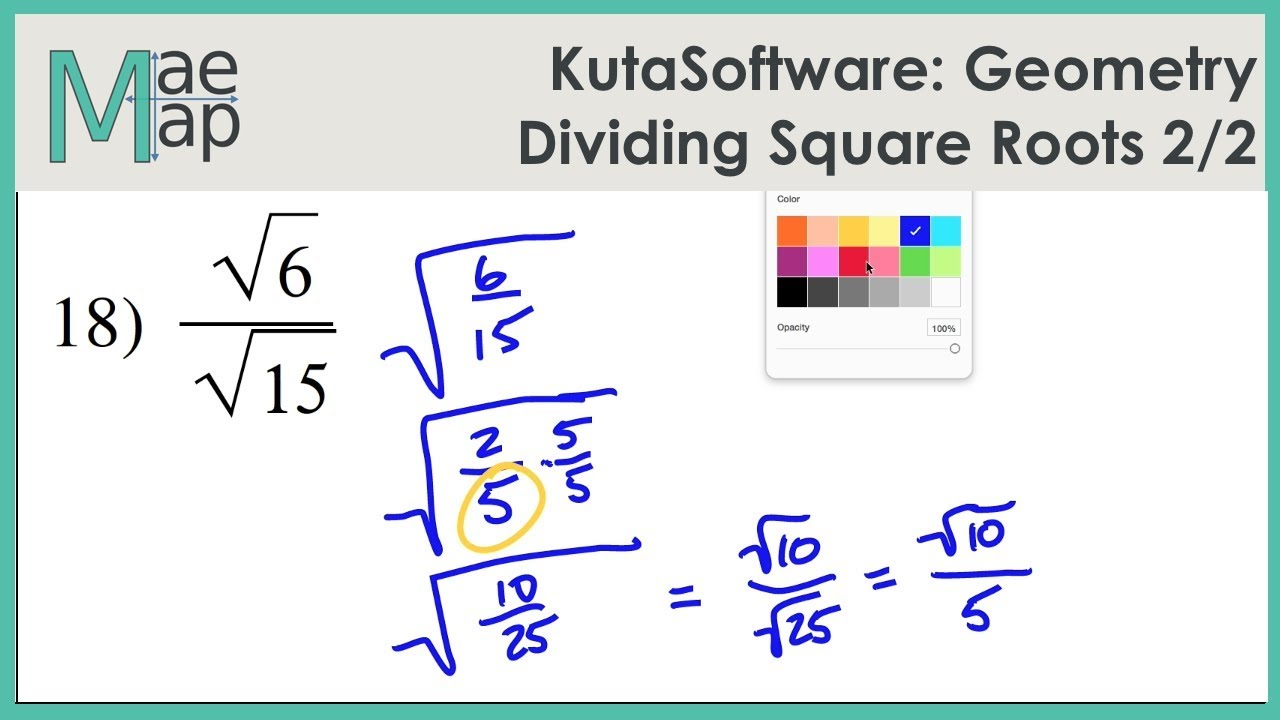 Kutasoftware Geometry Dividing Square Roots Part 2 Youtube