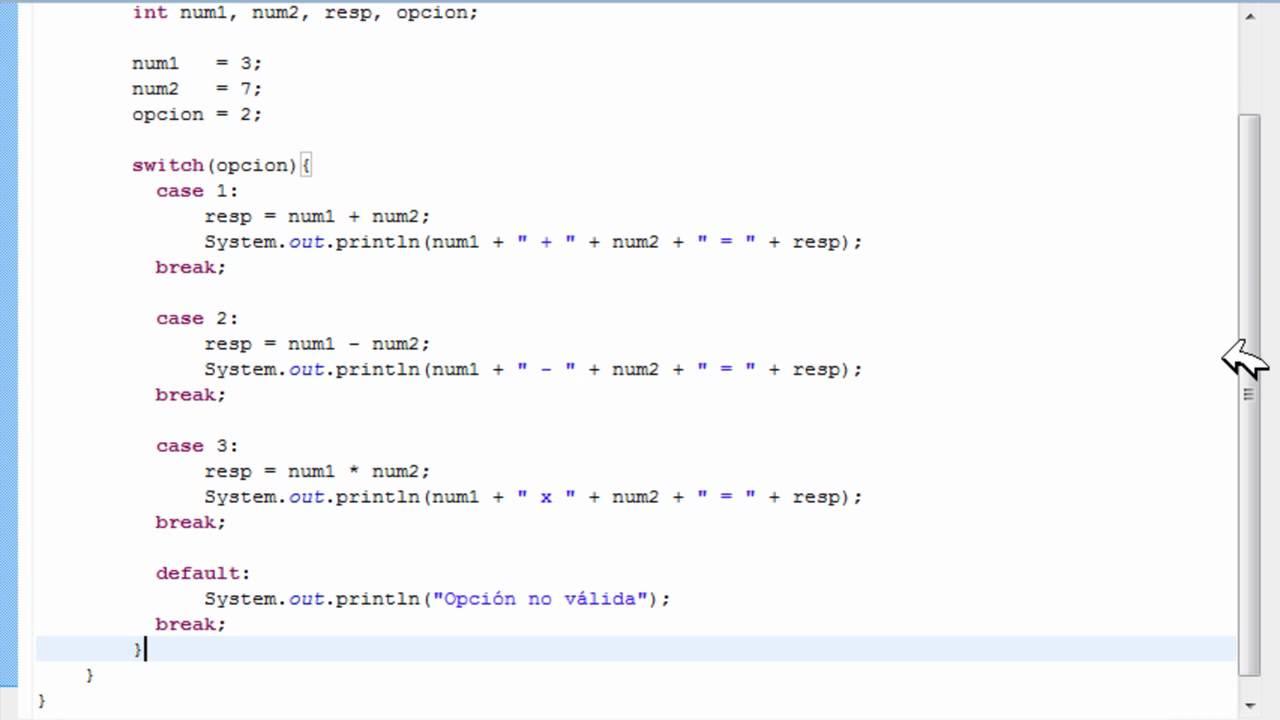 Programando En Java Desde El Principio Lección Xix Estructura Switch Case
