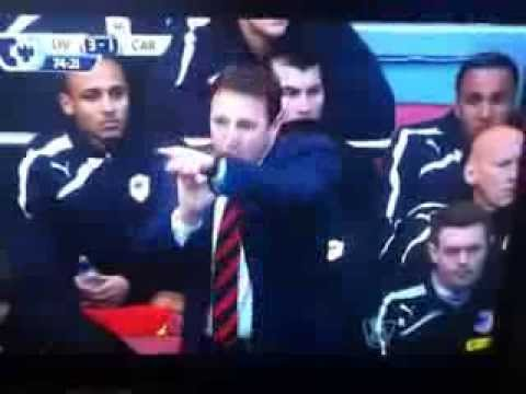 Malky Mackay Managersticulation v Liverpool