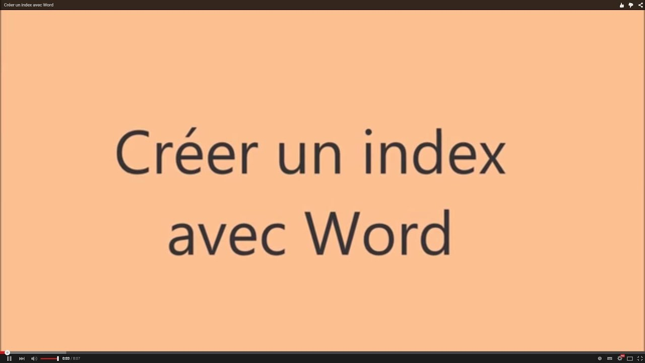 cr u00e9er un index avec word