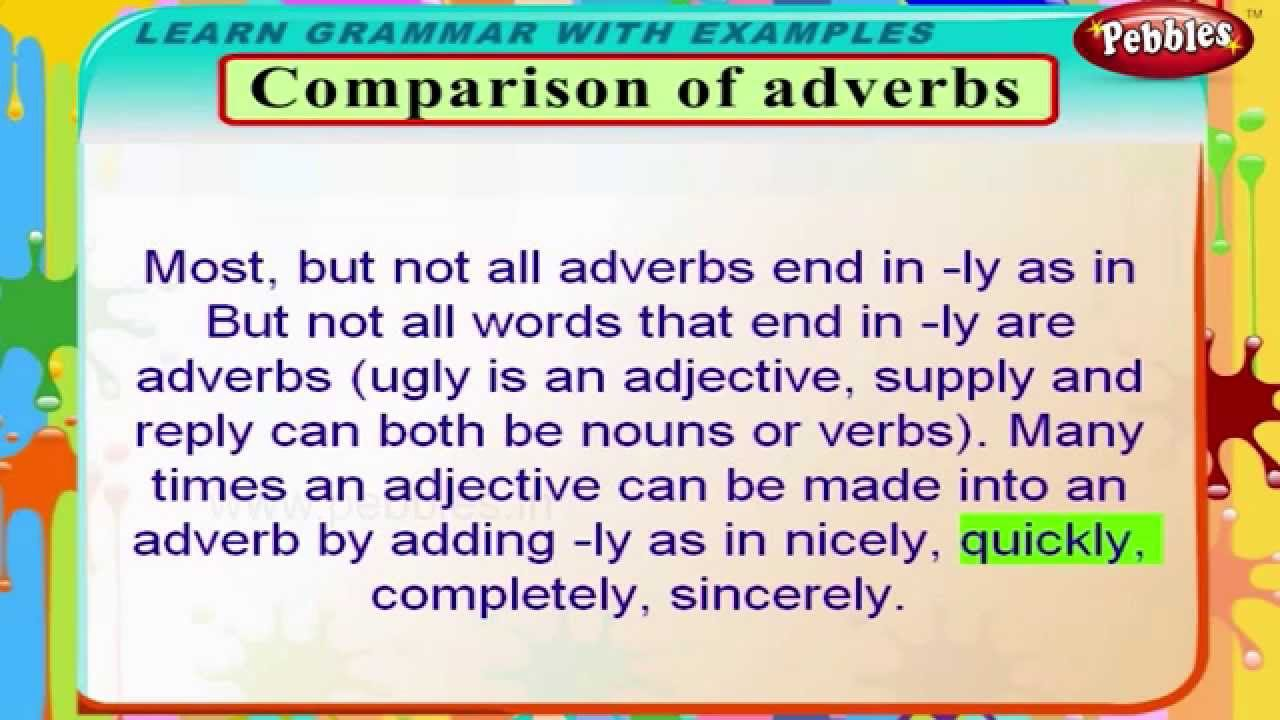 Comparison Of Adverbs English Grammar Lessons For Beginners