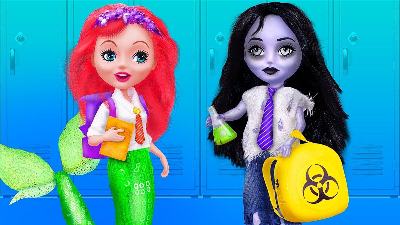 عروسة البحر ضد الزومبي في المدرسة/ 10 حيل أدوات مدرسية لباربي ومشغولات