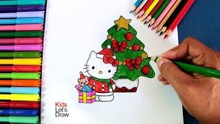 Cómo dibujar a Hello Kitty en Navidad | How to draw Hello Kitty at Christmas