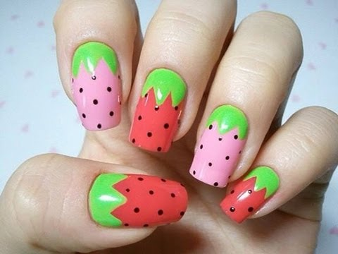 Strawberry inspired nail art cute and easy diy at home for strawberry inspired nail art cute and easy diy at home for beginners prinsesfo Image collections
