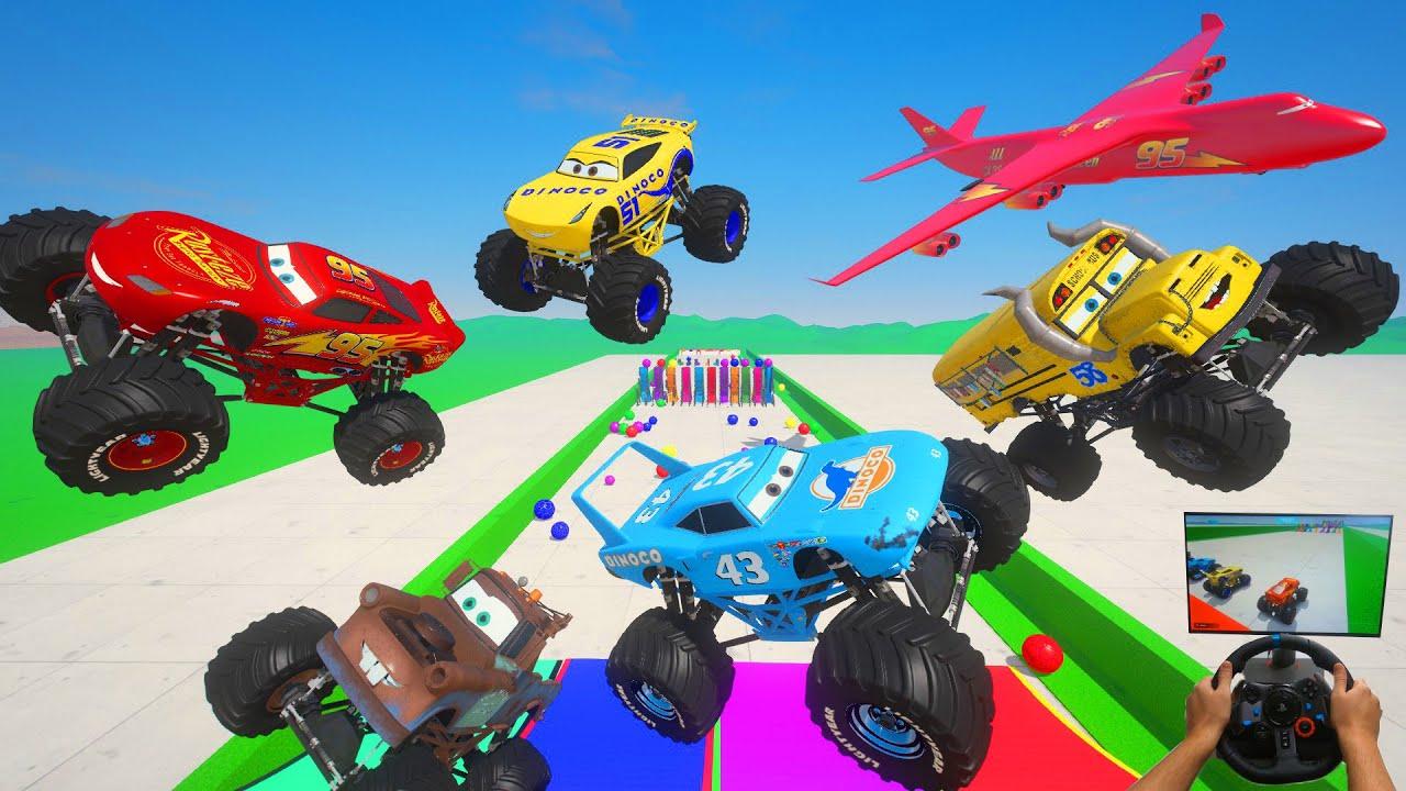 All Cars Monster Trucks   McQueen & Friends Mater The King Miss Fritter Cruz Ramirez Cargo Plane