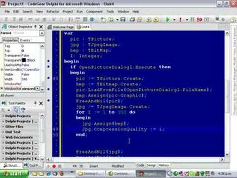 Delphi Programming Tutorial #38 - Charting Jpeg Compression