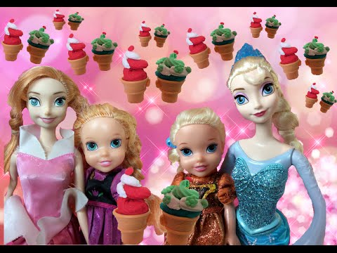 Anna and Elsa Toddlers Icecream Truck Disney Frozen Kids Eat Enjoy Play doh Shopkins Toys In Action