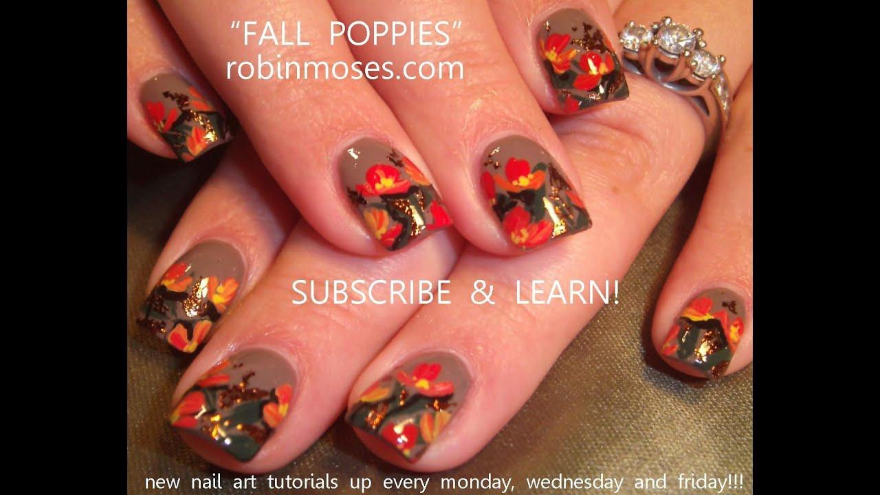 DIY Fall Nails | Poppy Nail Art design Tutorial - YouTube