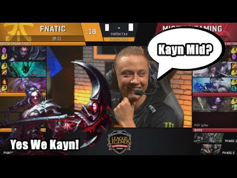 Fnatic (Caps Kayn Mid) VS MSF (POE Syndra)  Game 2 Highlights - 2017 EU LCS Summer W8D2