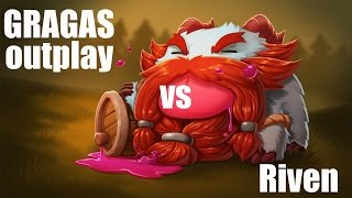 Funny Gragas vs Riven Outplay (League of Legends Gameplay) [Patch 5.9]