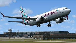 FSX/P3D: Boeing 737-Max 8 Air Italy EI-GFY in decollo dall'aeroporto di Milano Malpensa