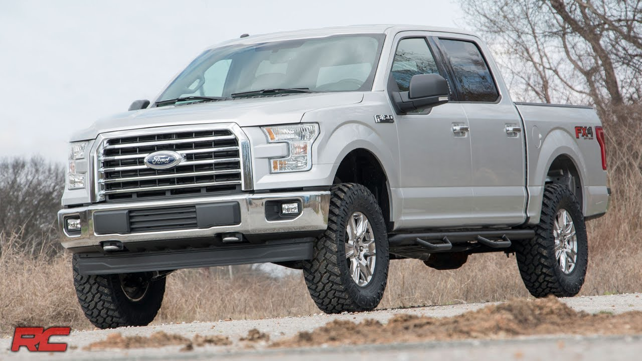 2014 2018 ford f 150 3 inch bolt on suspension lift kit by rough country [ 1280 x 720 Pixel ]