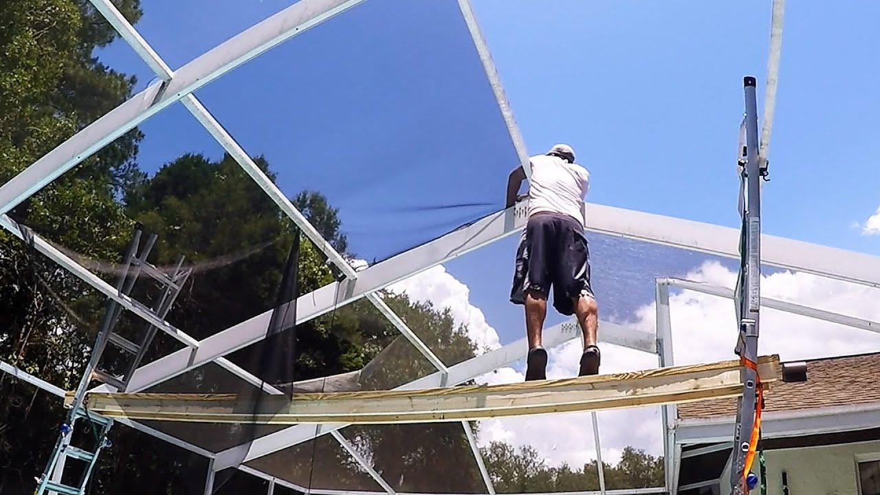 Diy First Time Re Screening Our Pool Enclosure Youtube