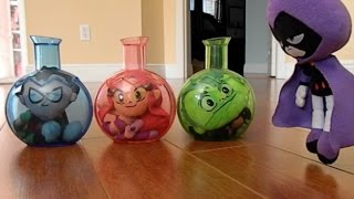 Teen Titans Go! Robin, Beast Boy and Stafire are Stuck in a Chemical X Bottle with Raven