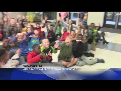 Rob Fowler visits the 4th graders at Flowertown Elementary School for Weather 101