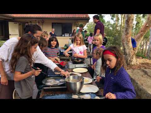 Sanderling Waldorf School 3rd graders making organic buckwheat pancakes 11-15-17