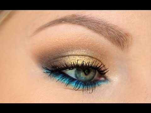 Gold Smokey Eye W Blue Lower Lash Line Tutorial ♡ Youtube
