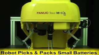 Repeat youtube video Ultra Fast Pick & Place Robot - FANUC's New Three-Axis Delta Robot Packs Small Batteries