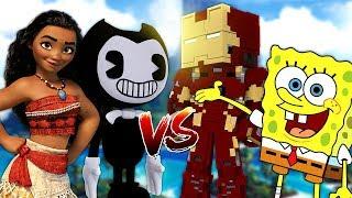 BENDY ATTACK SPONGEBOB AND MOANA   Minecraft Versus
