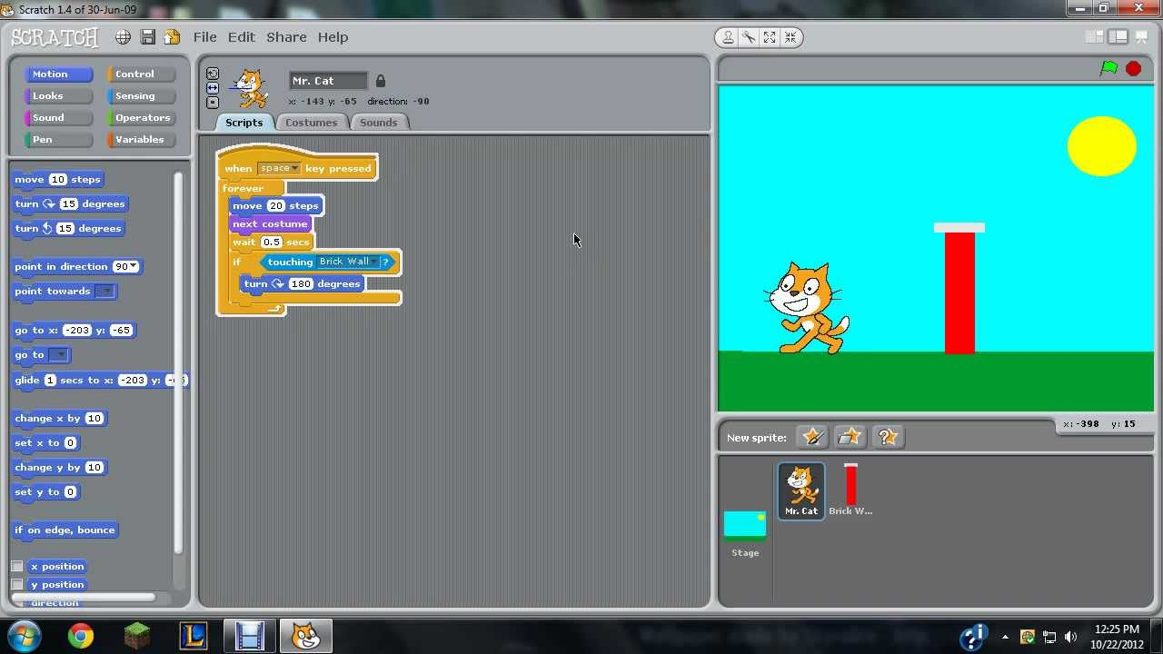 Scratch tutorial: Mr. Cat and the brick wall - YouTube