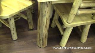 Cedar Lake Log Dining Table With Skirt | Rustic Dining Table