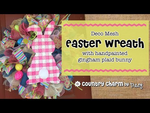 Easter Wreath with Gingham Plaid Bunny // I Show You My Favorite Way to Attach Signs to My Wreaths!