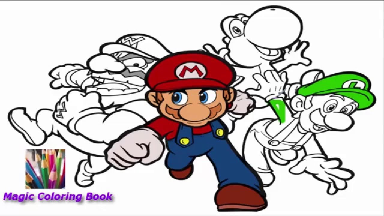 Let\'s color Super Mario ! Great Super Mario coloring Book ! - YouTube