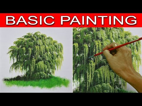 How to Paint a Weeping Willow Tree in Step by Step Acrylic Painting Tutorial for Beginners