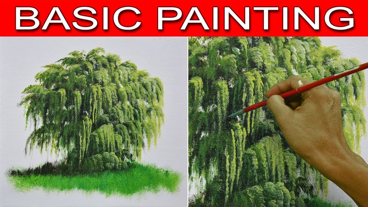 how to draw a weeping willow tree for beginners