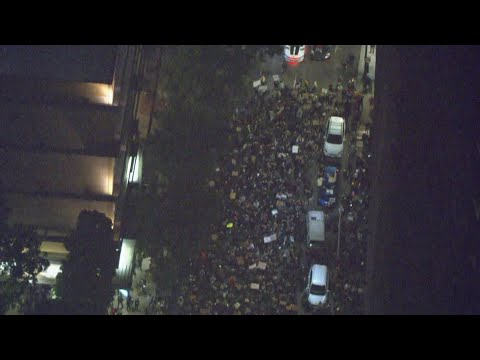 Raw: Protest groups converge outside Justice Center in downtown Portland
