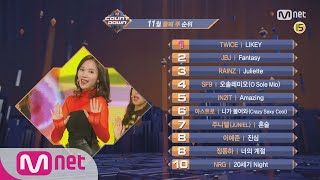 What are the TOP10 Songs in 2nd week of November? M COUNTDOWN 171109 EP.548